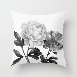 grayscale roses Throw Pillow