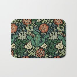 William Morris Compton Floral Art Nouveau Pattern Bath Mat