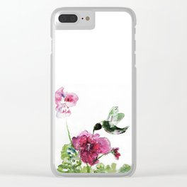 Razzberry Hummingbird watercolour by CheyAnne Sexton Clear iPhone Case