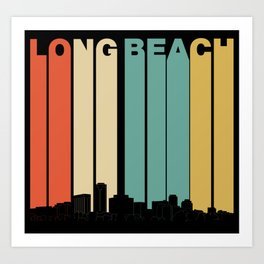 Vintage 1970's Style Long Beach California Skyline Art Print