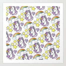 Unicorn rainbow stars design Art Print