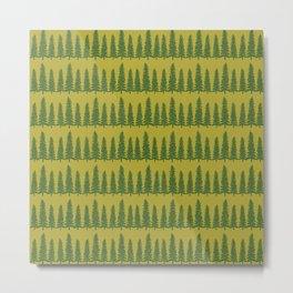 Green Pine Forest Pattern Metal Print
