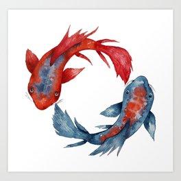 Yin Yang Koi Fish Art Print