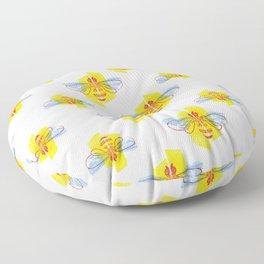 Be Safe - Save Bees linocut Floor Pillow