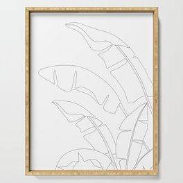 Minimal Line Art Banana Leaves Serving Tray
