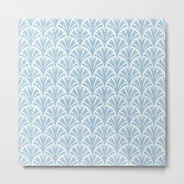 Faux Velvet Fan Pattern In Blue on White Metal Print