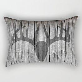 Deer Antlers Barn Wall Hunter Rustic Print Rectangular Pillow