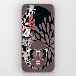 Afro Diva : Sophisticated Lady Pale Pink Peach Taupe iPhone Skin