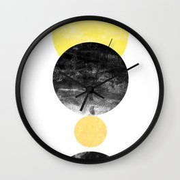 Geller - modern minimal abstract painting white and black gold foil glitter sparkle hipster trendy  Wall Clock