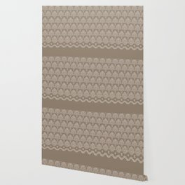 Coffee Color Damask Chenille with Lacy Edge Wallpaper