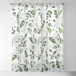 Magnolia Tree Sheer Curtain