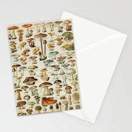 Mushrooms Vintage Scientific Illustration French Language Encyclopedia Lithographs Educational Stationery Cards