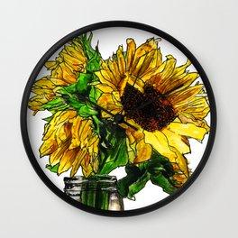 Sunflower In Mason Jar Wall Clock