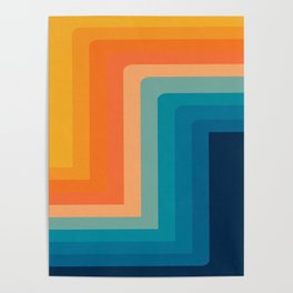 Retro 70s Color Lines Poster