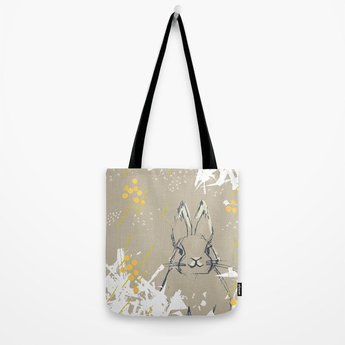 Bunny Portrait M+M Latte by Friztin Tote Bag