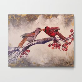 Kissing Cardinals Metal Print