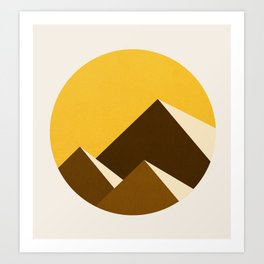 Abstraction_Mountains_YELLOW_001 Art Print