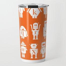 Robot Alphabets in Tangerine Travel Mug