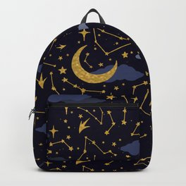 Celestial Stars and Moons in Gold and Dark Blue Backpack