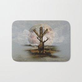 Algiz  Rune and Deer Digital Art Collage Bath Mat