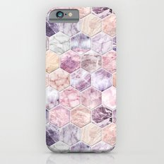 Rose Quartz and Amethyst Stone and Marble Hexagon Tiles iPhone 6s Slim Case