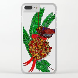 Little Bird In Evergreen Boughs Clear iPhone Case
