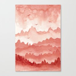 misty mountains - light red palette Canvas Print