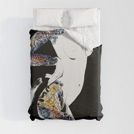 Traditional japanese body koi tattoo, Black and white illustration, Nude art, Naked beauty body Duvet Cover