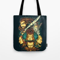 the hobbit Tote Bags featuring The Hobbit by anggatantama