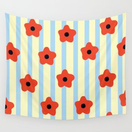 Poppies & Stripes Wall Tapestry