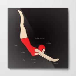 Vintage Swimmer Metal Print