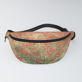 Summer, beautiful field of red poppies Fanny Pack