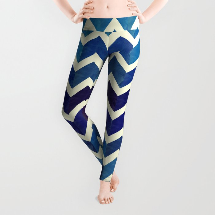 Watercolor Chevron Pattern III Leggings