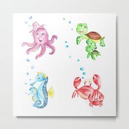 nautical decor nursery, ocean themed, sea turtle, sea animals Metal Print