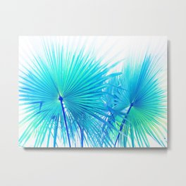 Solar Summer Fan Palms - Blue and Aqua Metal Print