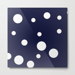 Polka Dot Party, Navy Metal Print