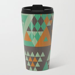 triangles-green-brown-orange-KNIT Travel Mug