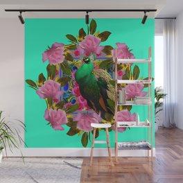 GREEN PEACOCK &  PINK ROSE GARDEN TURQUOISE ART Wall Mural