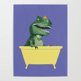Playful T-Rex in Bathtub in Purple Poster