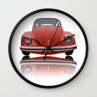vw Wall Clocks featuring VW Beetle by Nove Studio