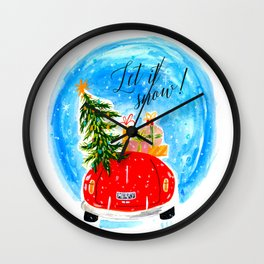 Dashing Through The Snow - Holiday Car Christmas Tree Wall Clock
