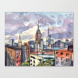 """""""Sky-lines"""" New York Skyline at sunset from Brooklyn rooftop view Canvas Print"""