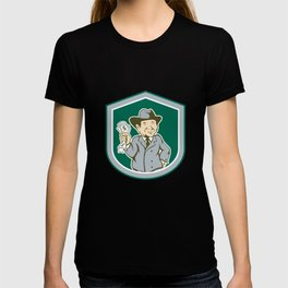 Businessman Rich Man Money Shield Cartoon T-shirt