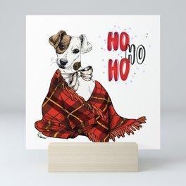 Hand Drawn Jack Russell Terrier Dog Portrait Snuggled in Plaid Blanket Mini Art Print