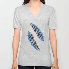 Two  blue feathers Unisex V-Neck