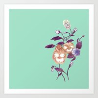 decal Art Prints featuring Pansy Decal Purple Peach Mint  by ThistleandFox