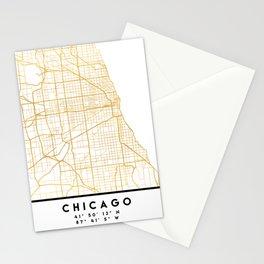 CHICAGO ILLINOIS CITY STREET MAP ART Stationery Cards