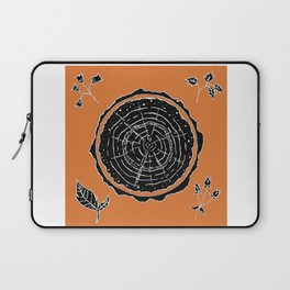 Autumnal Tree Trunk Cross Section with Wildflowers Design Laptop Sleeve