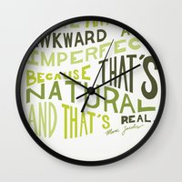 marc jacobs Wall Clocks featuring I Love Anything Awkward and Imperfect Because That's Natural and That's Real - Marc Jacobs by One Curious Chip