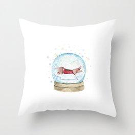 Dog Snow Globe (3) Throw Pillow